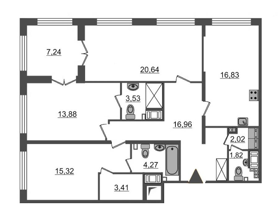 3-комнатная 100 м<sup>2</sup> на 4 этаже