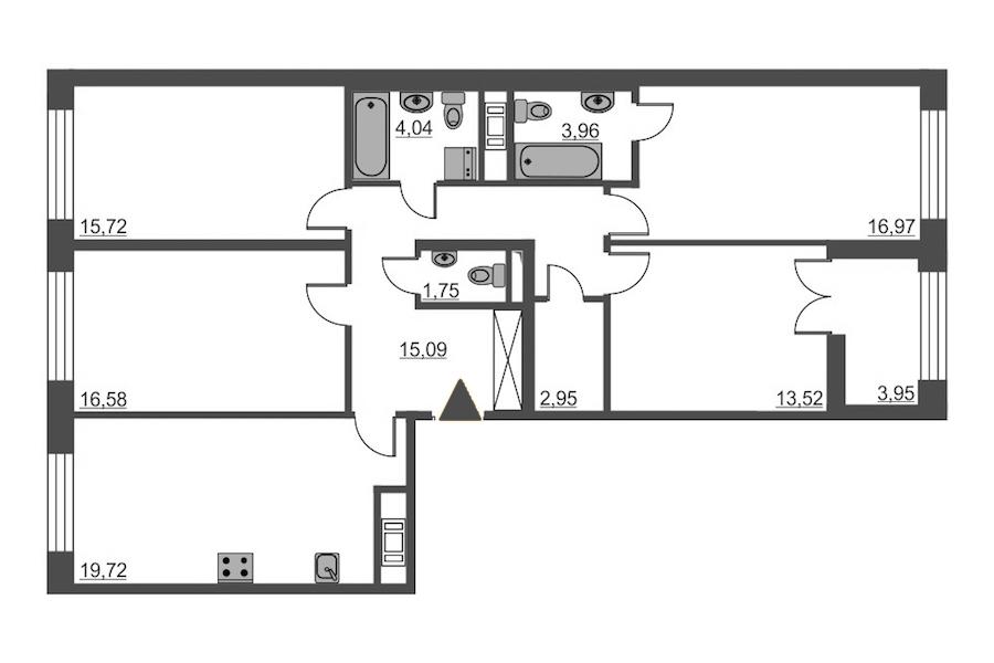 4-комнатная 110 м<sup>2</sup> на 7 этаже
