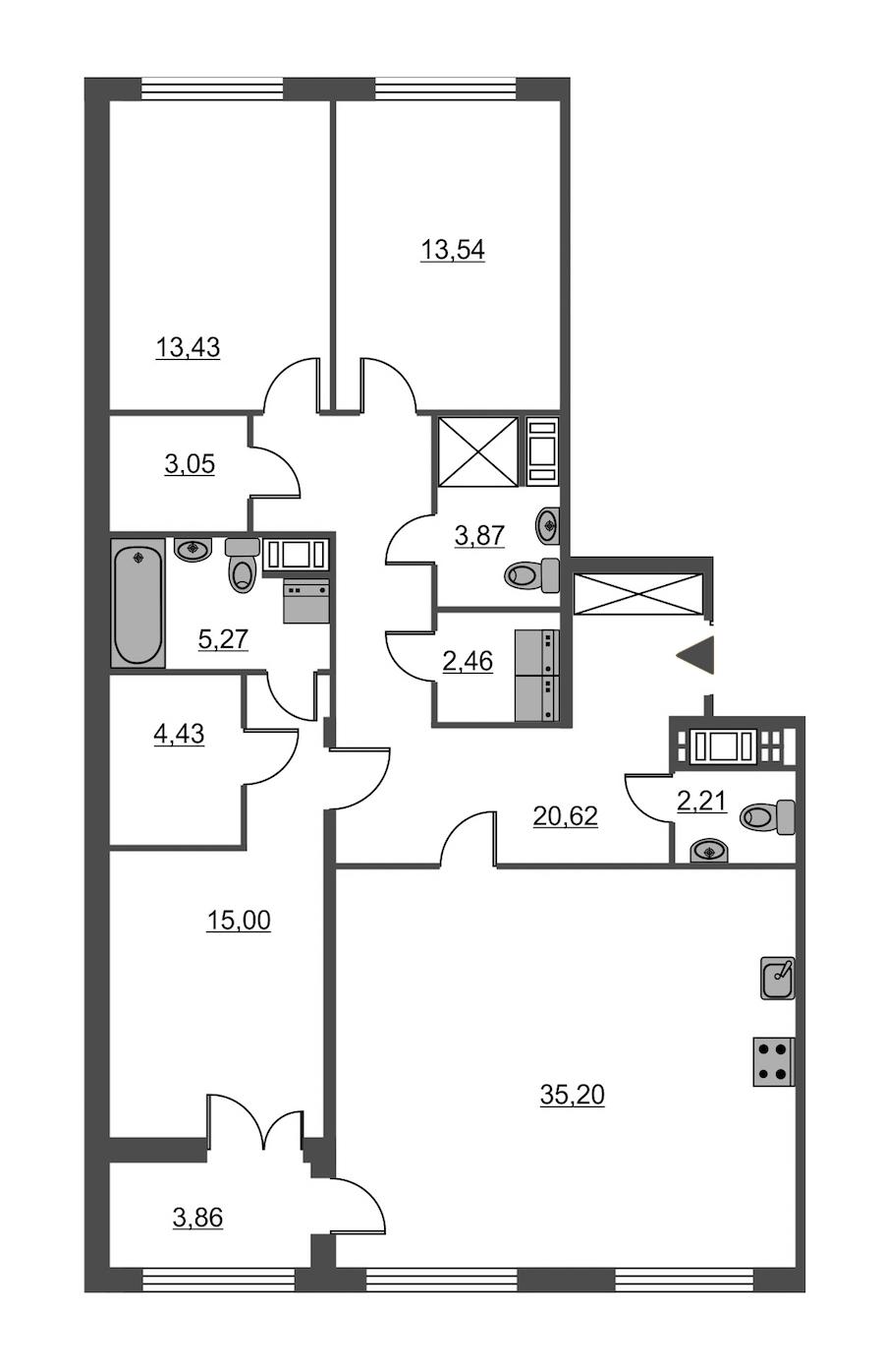 3-комнатная 119 м<sup>2</sup> на 3 этаже