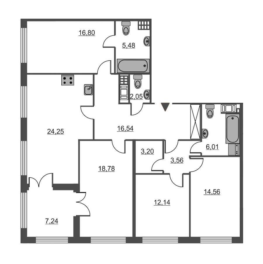 4-комнатная 123 м<sup>2</sup> на 4 этаже