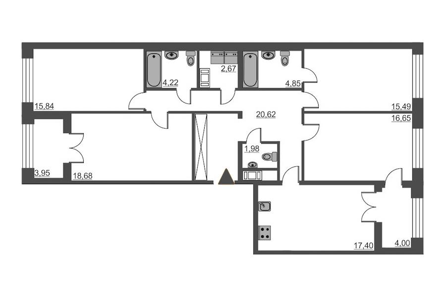 4-комнатная 118 м<sup>2</sup> на 4 этаже