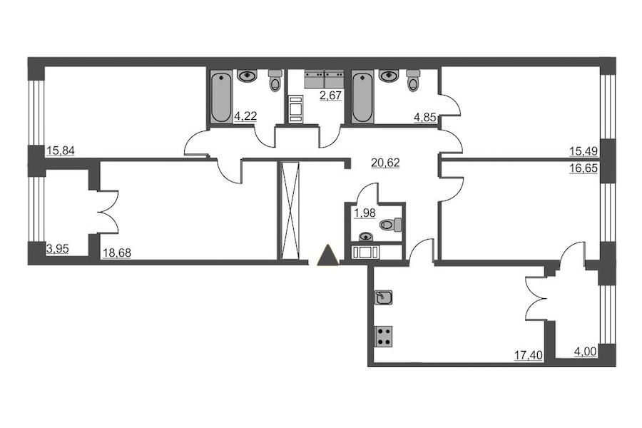 4-комнатная 118 м<sup>2</sup> на 7 этаже