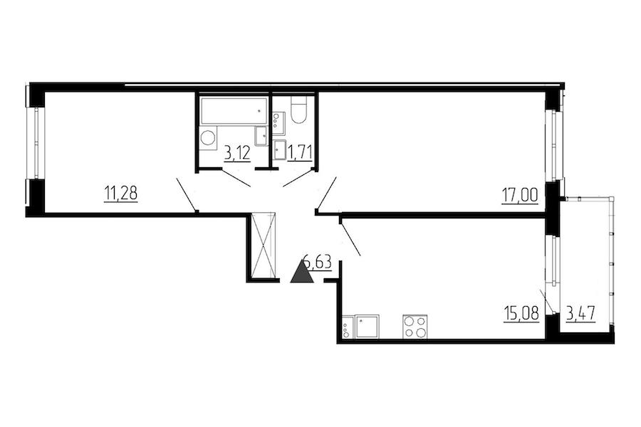 2-комнатная 54 м<sup>2</sup> на 1 этаже