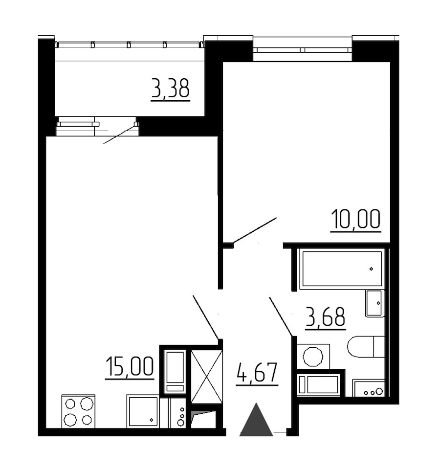 1-комнатная 33 м<sup>2</sup> на 8 этаже
