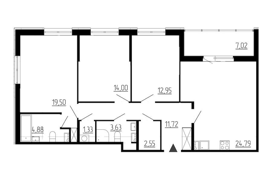 3-комнатная 95 м<sup>2</sup> на 1 этаже
