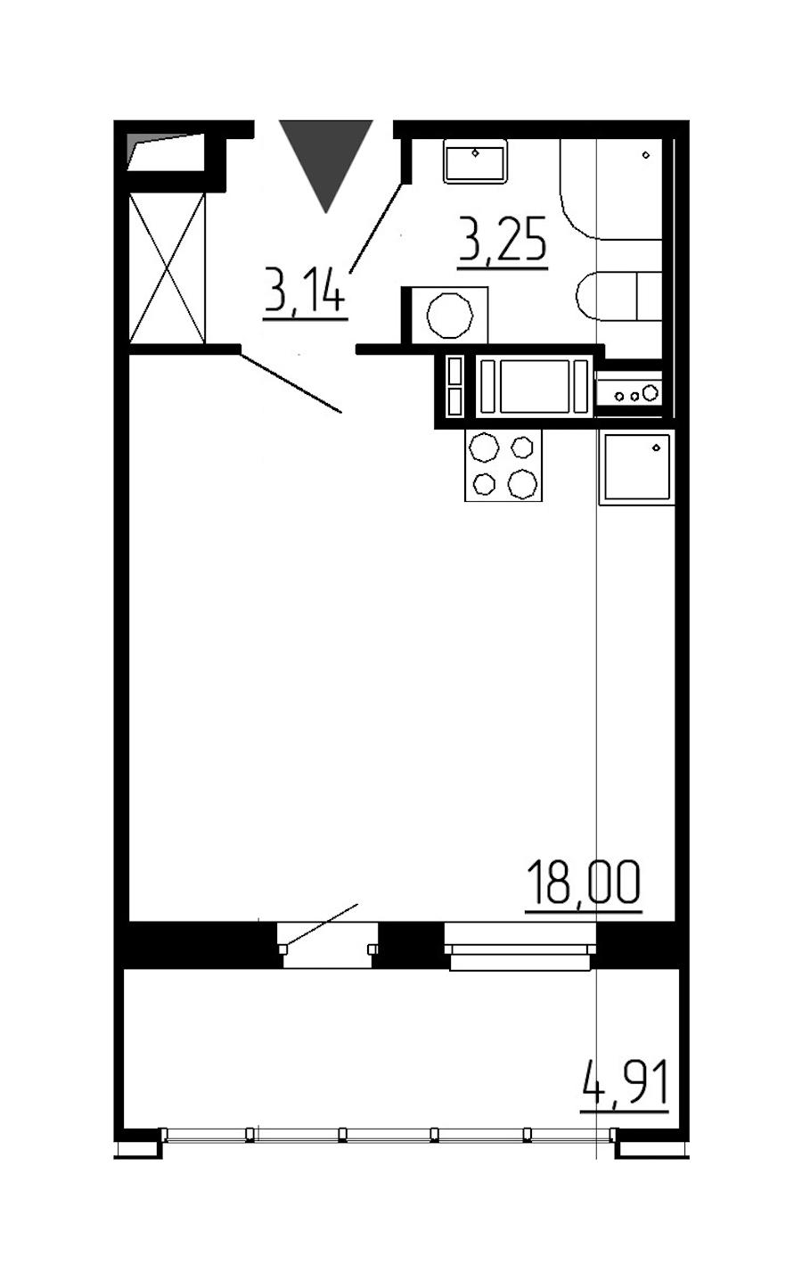 Студия 24 м<sup>2</sup> на 12 этаже