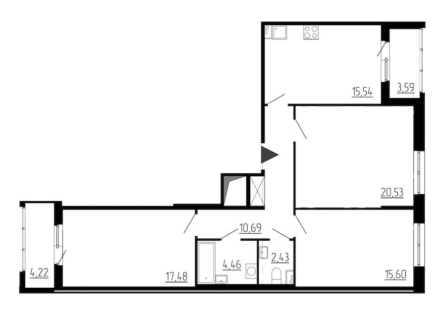 3-комнатная 86 м<sup>2</sup> на 1 этаже