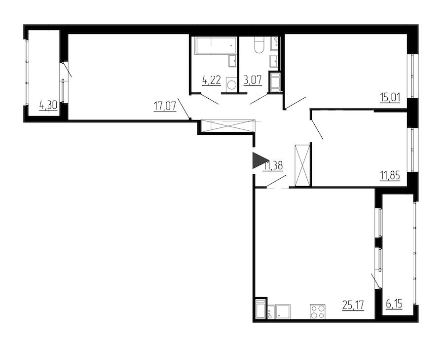 3-комнатная 87 м<sup>2</sup> на 2 этаже
