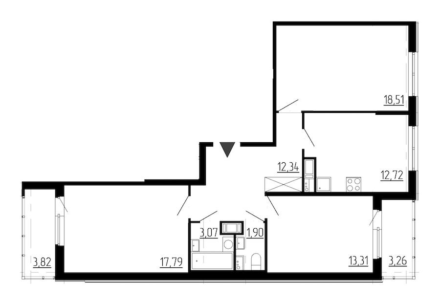 3-комнатная 79 м<sup>2</sup> на 6 этаже