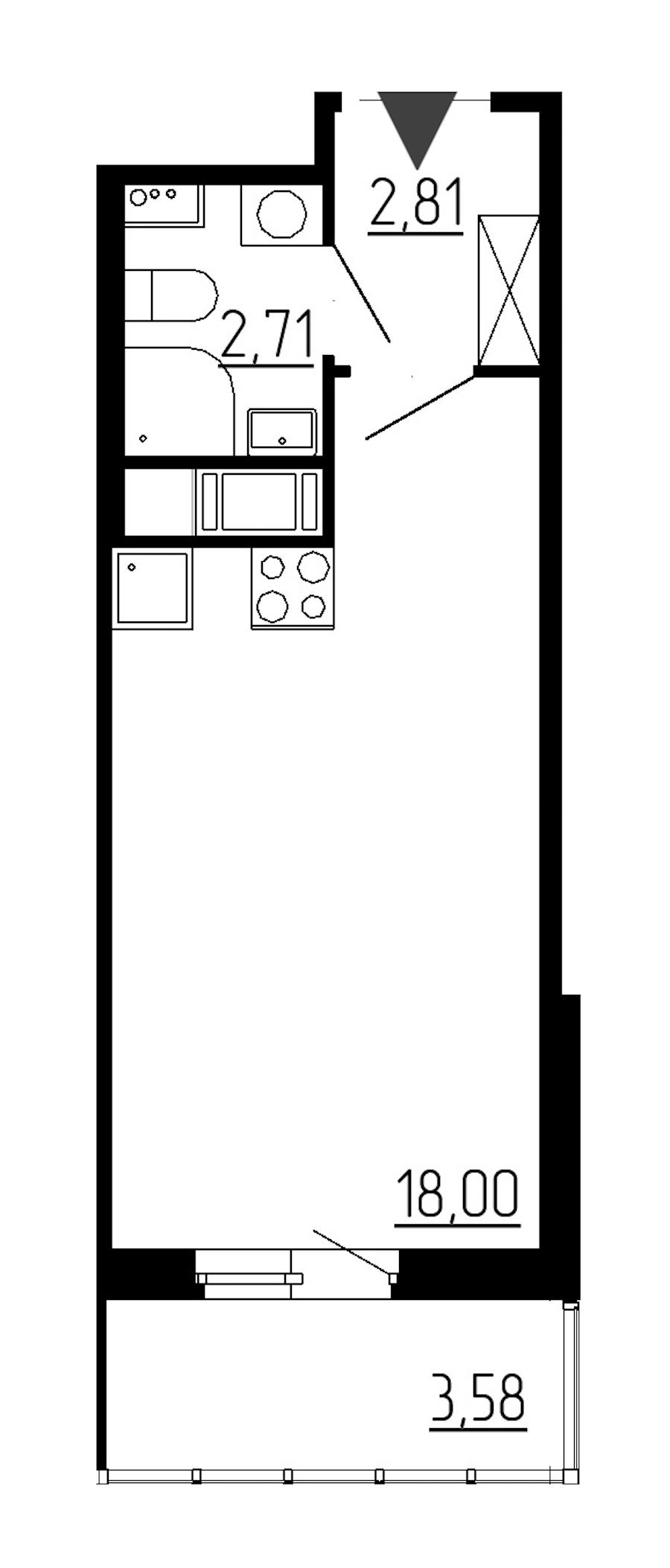 Студия 23 м<sup>2</sup> на 11 этаже