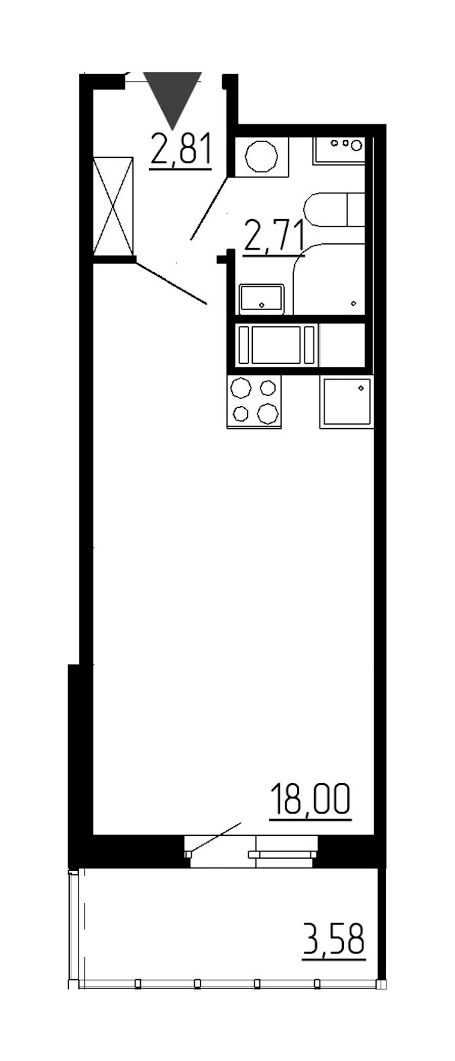 Студия 23 м<sup>2</sup> на 6 этаже