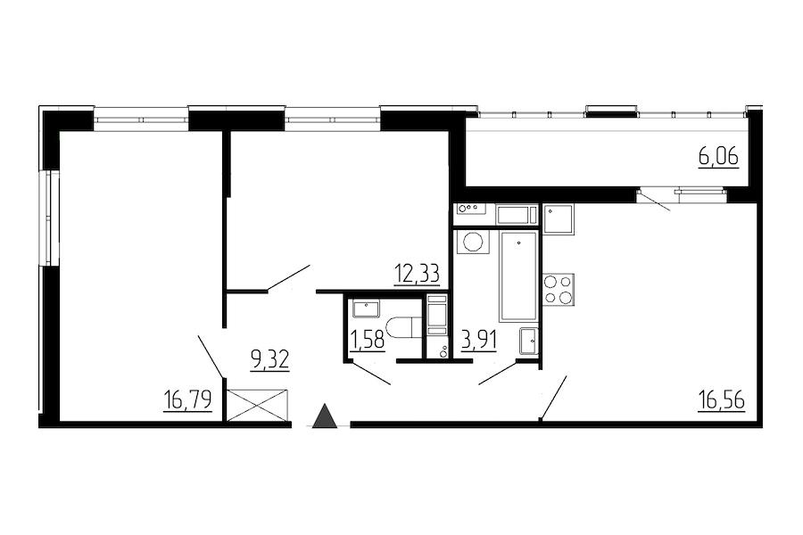 2-комнатная 60 м<sup>2</sup> на 4 этаже