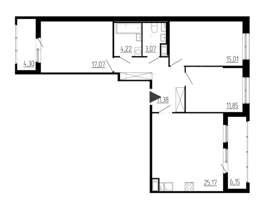 3-комнатная 87 м<sup>2</sup> на 9 этаже