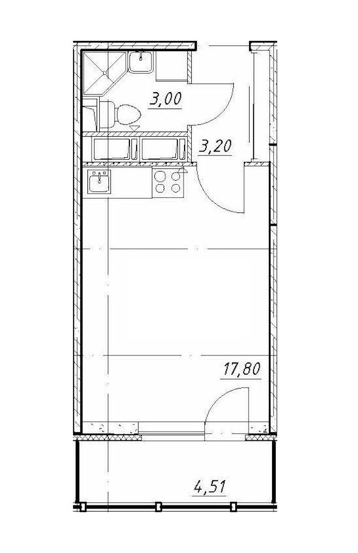 Студия 24 м<sup>2</sup> на 8 этаже