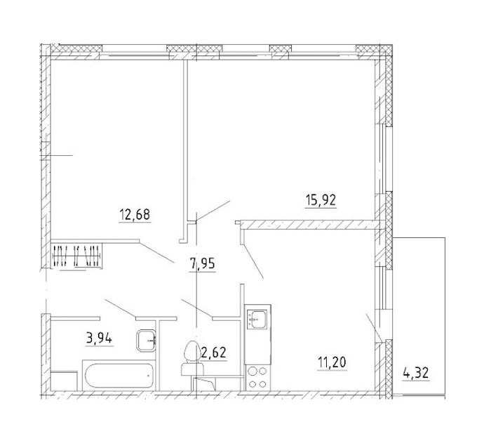 2-комнатная 63 м<sup>2</sup> на 1 этаже