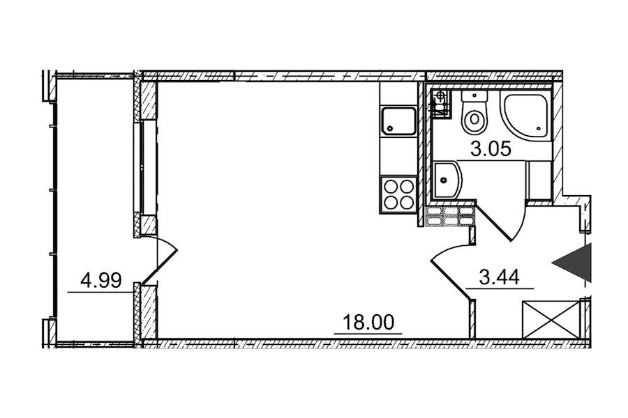 Студия 24 м<sup>2</sup> на 4 этаже