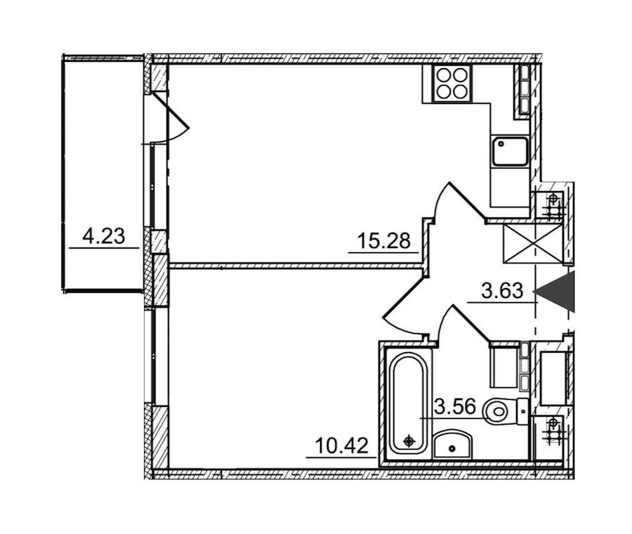 1-комнатная 32 м<sup>2</sup> на 4 этаже