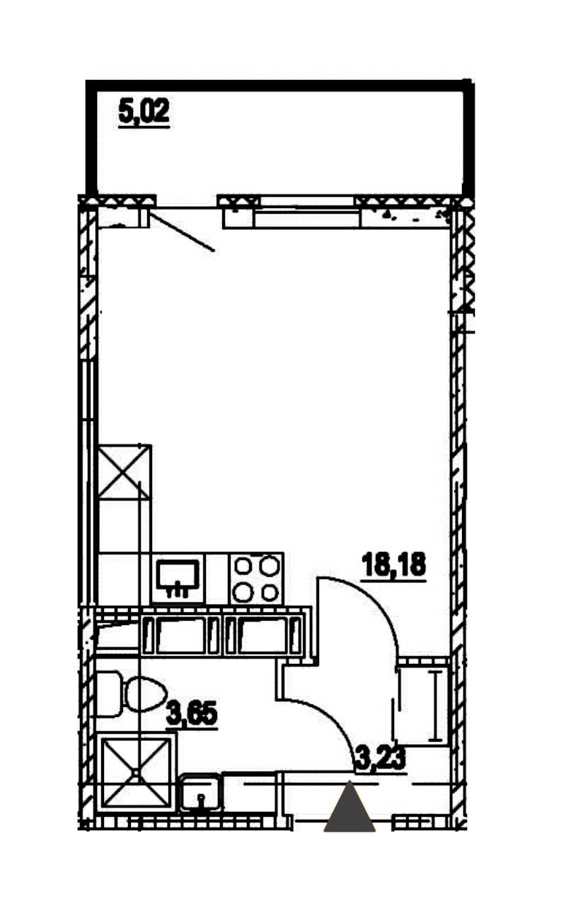 Студия 25 м<sup>2</sup> на 14 этаже
