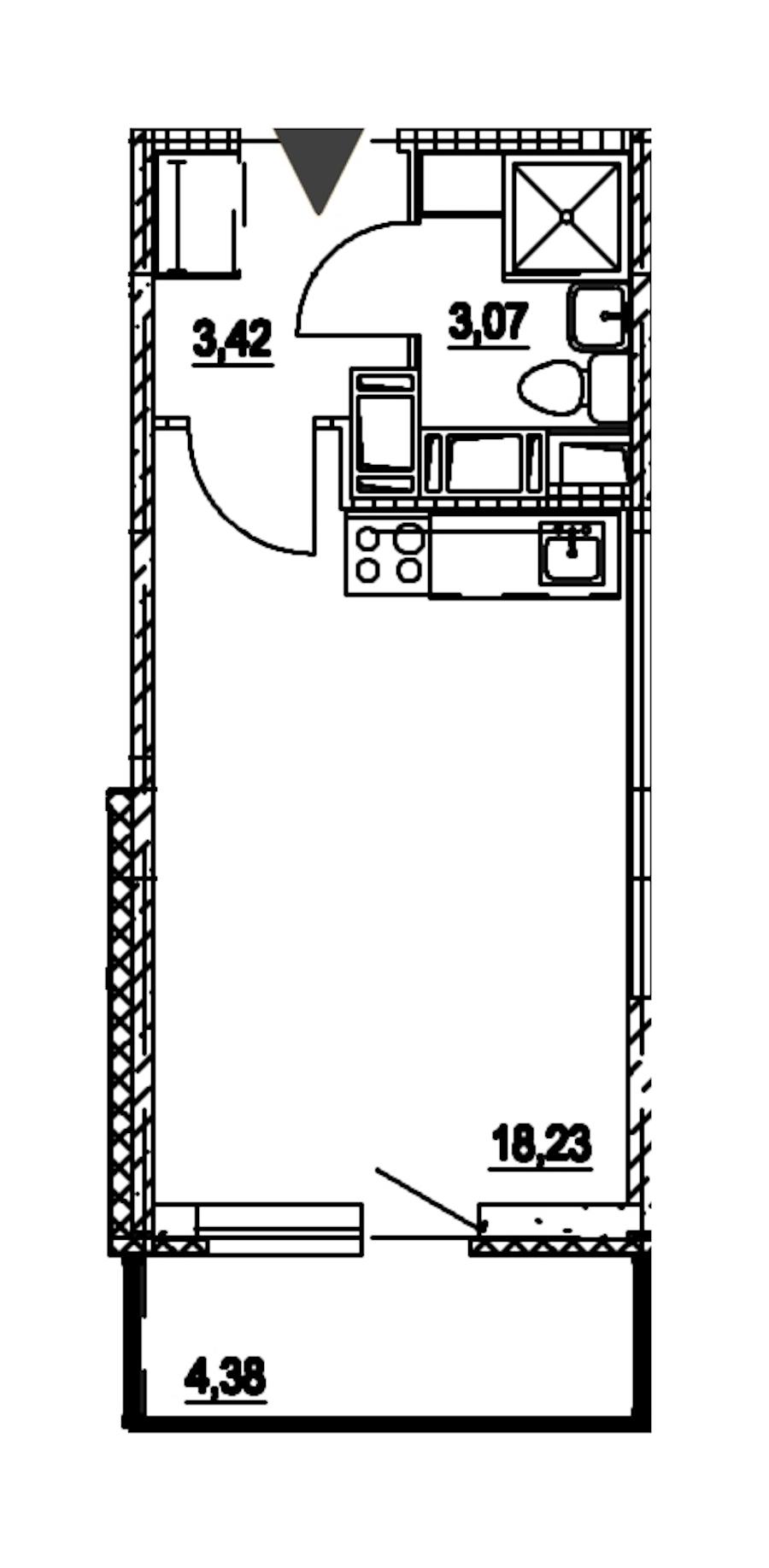 Студия 24 м<sup>2</sup> на 15 этаже
