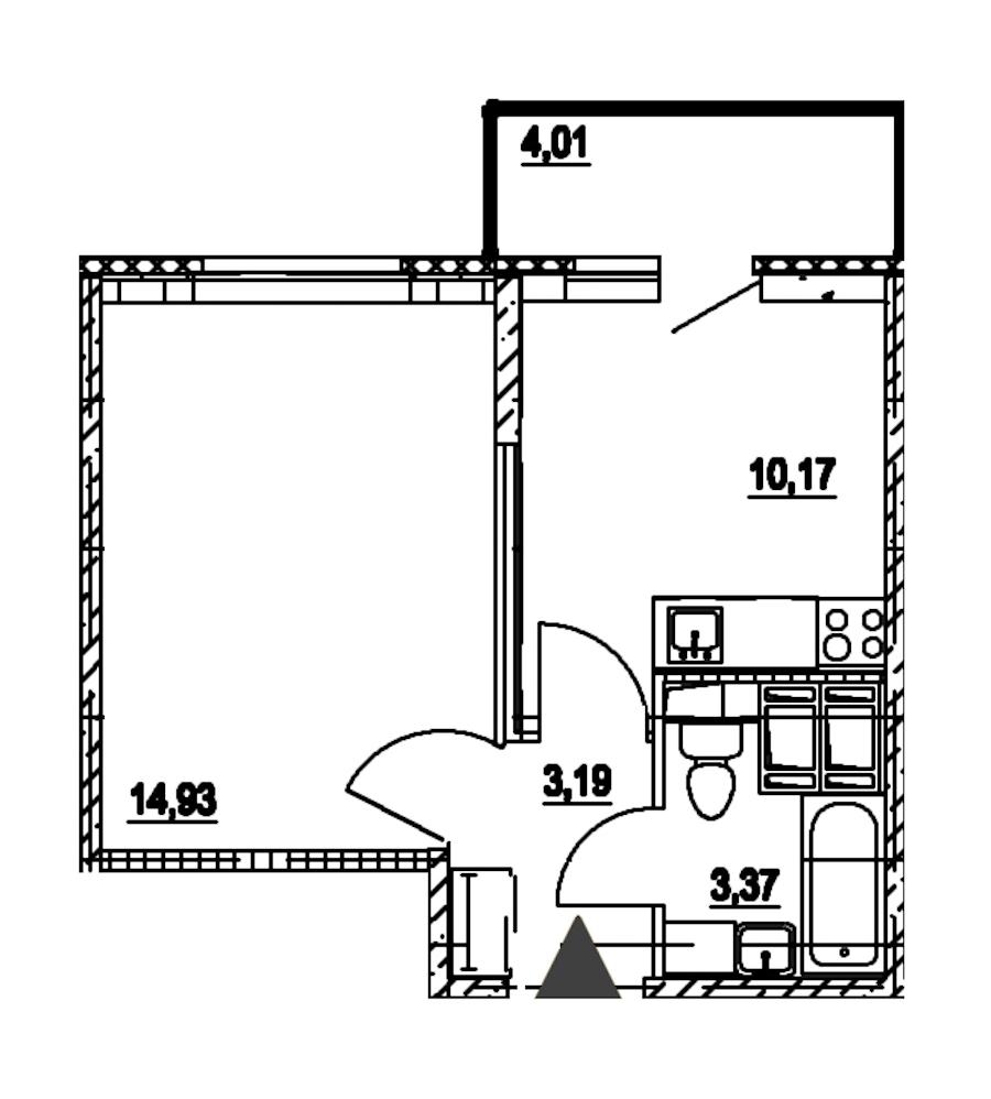 1-комнатная 31 м<sup>2</sup> на 15 этаже