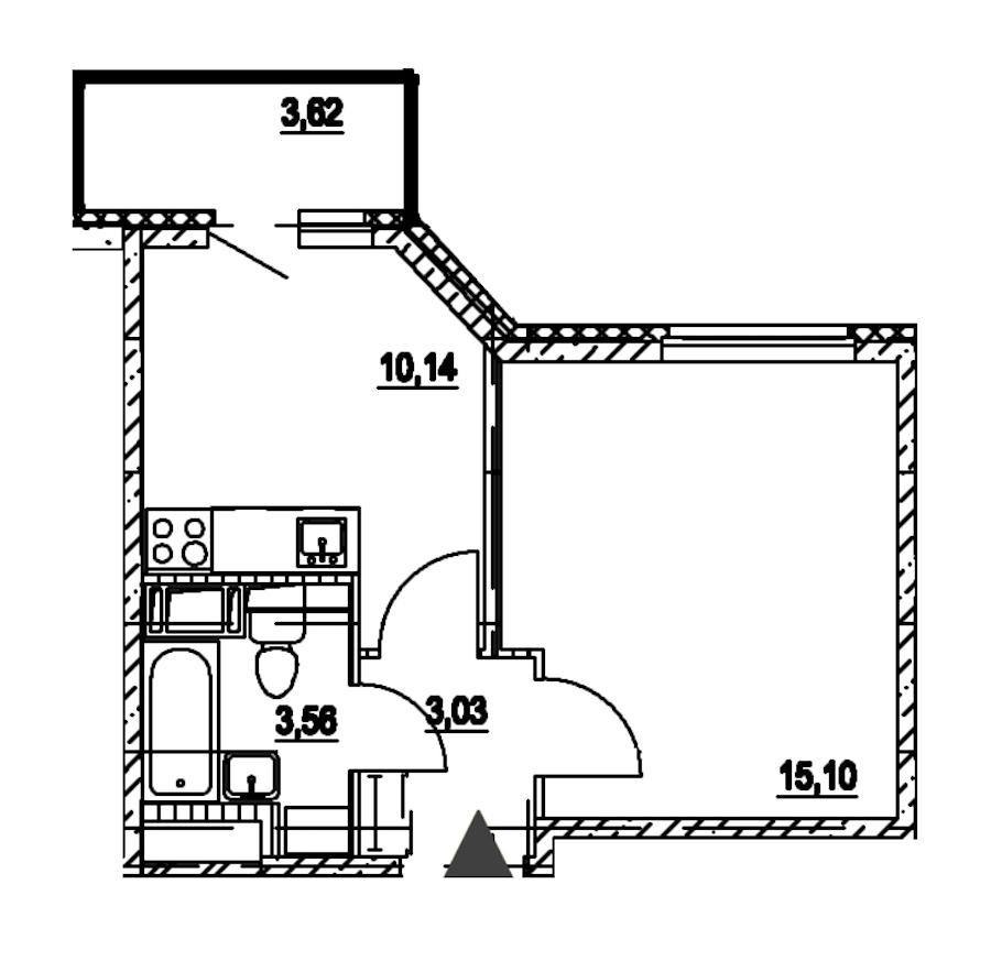 1-комнатная 31 м<sup>2</sup> на 7 этаже