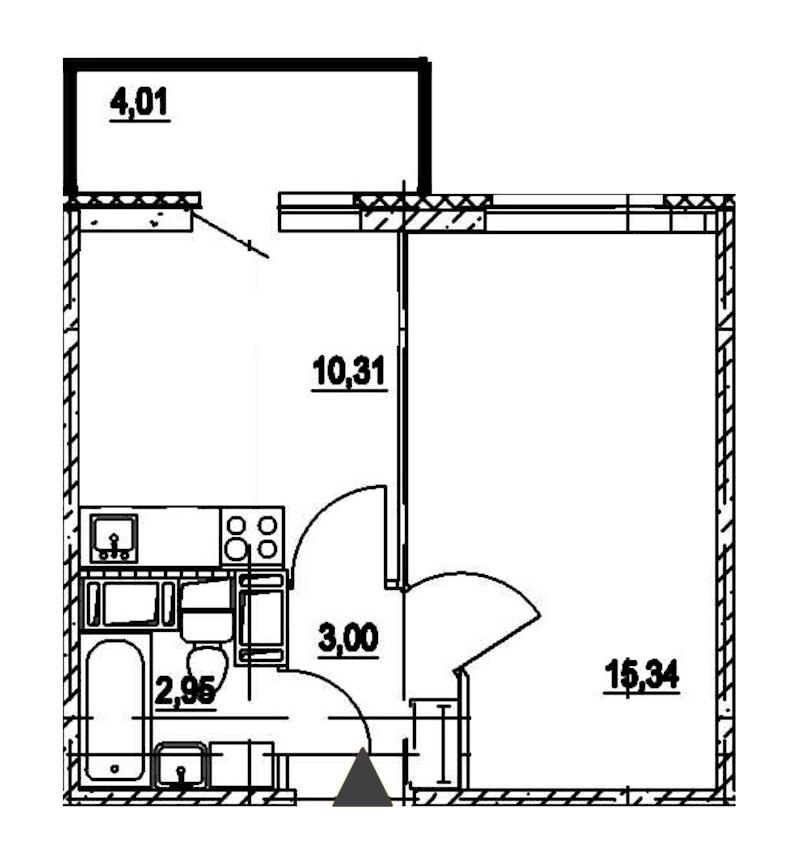 1-комнатная 31 м<sup>2</sup> на 19 этаже
