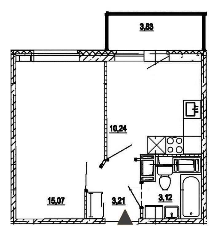 1-комнатная 31 м<sup>2</sup> на 18 этаже