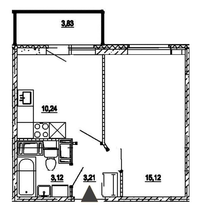 1-комнатная 31 м<sup>2</sup> на 17 этаже