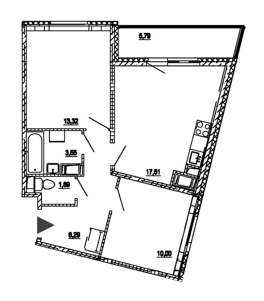 2-комнатная 54 м<sup>2</sup> на 18 этаже