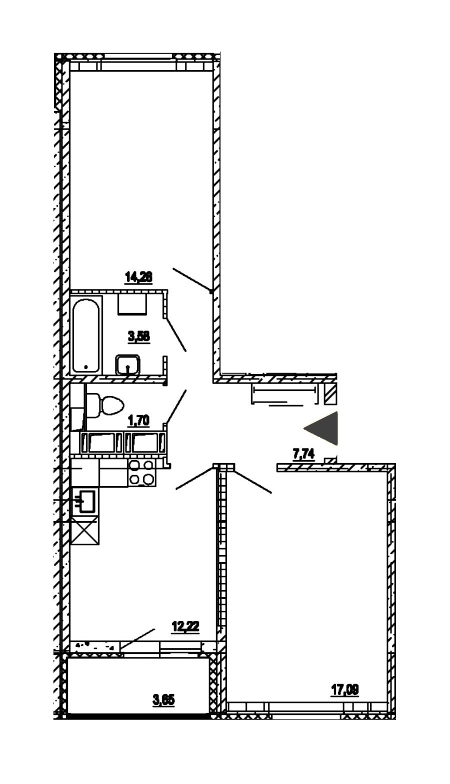 2-комнатная 56 м<sup>2</sup> на 18 этаже
