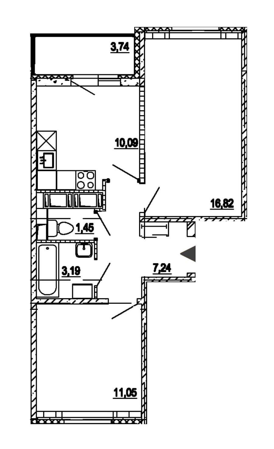 2-комнатная 49 м<sup>2</sup> на 15 этаже