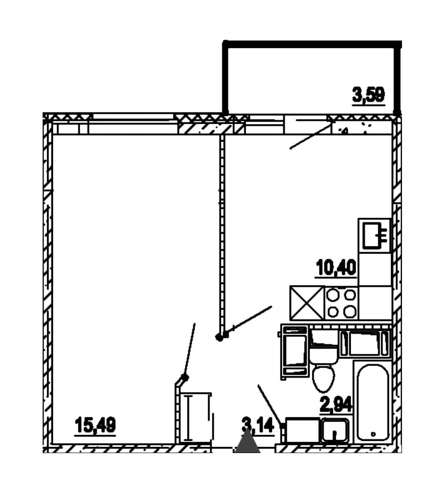 1-комнатная 31 м<sup>2</sup> на 14 этаже