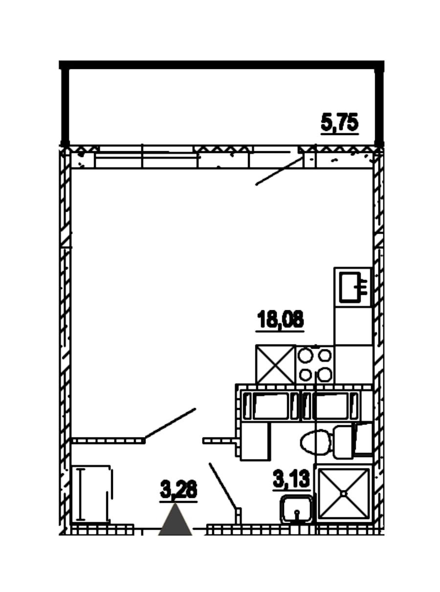 Студия 24 м<sup>2</sup> на 18 этаже