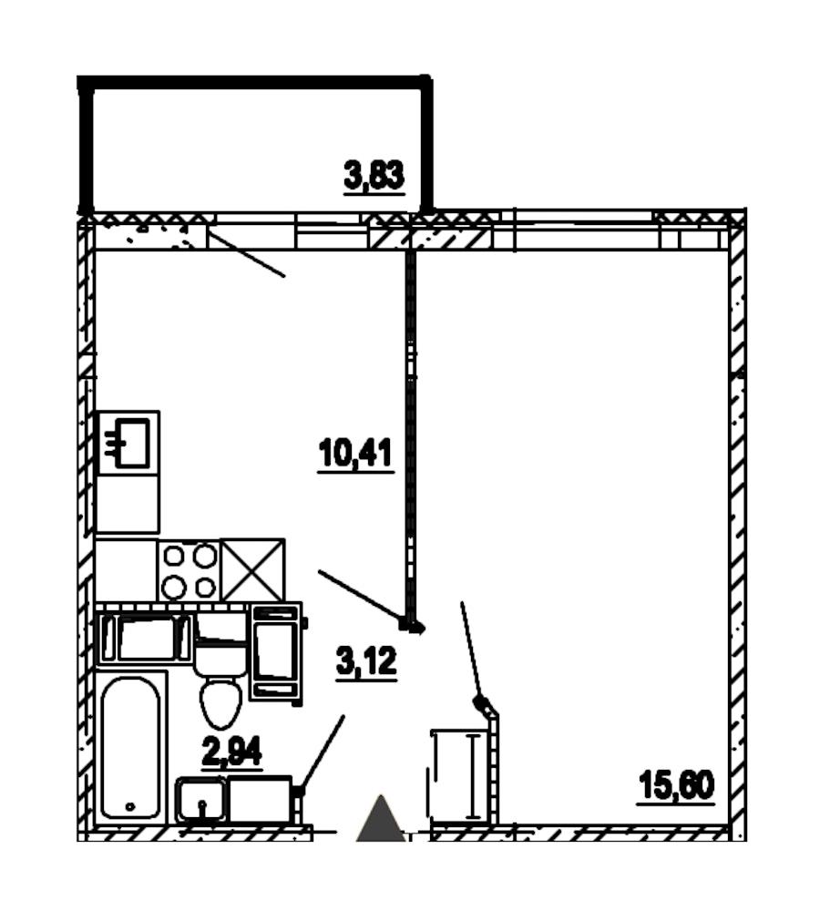 1-комнатная 32 м<sup>2</sup> на 18 этаже