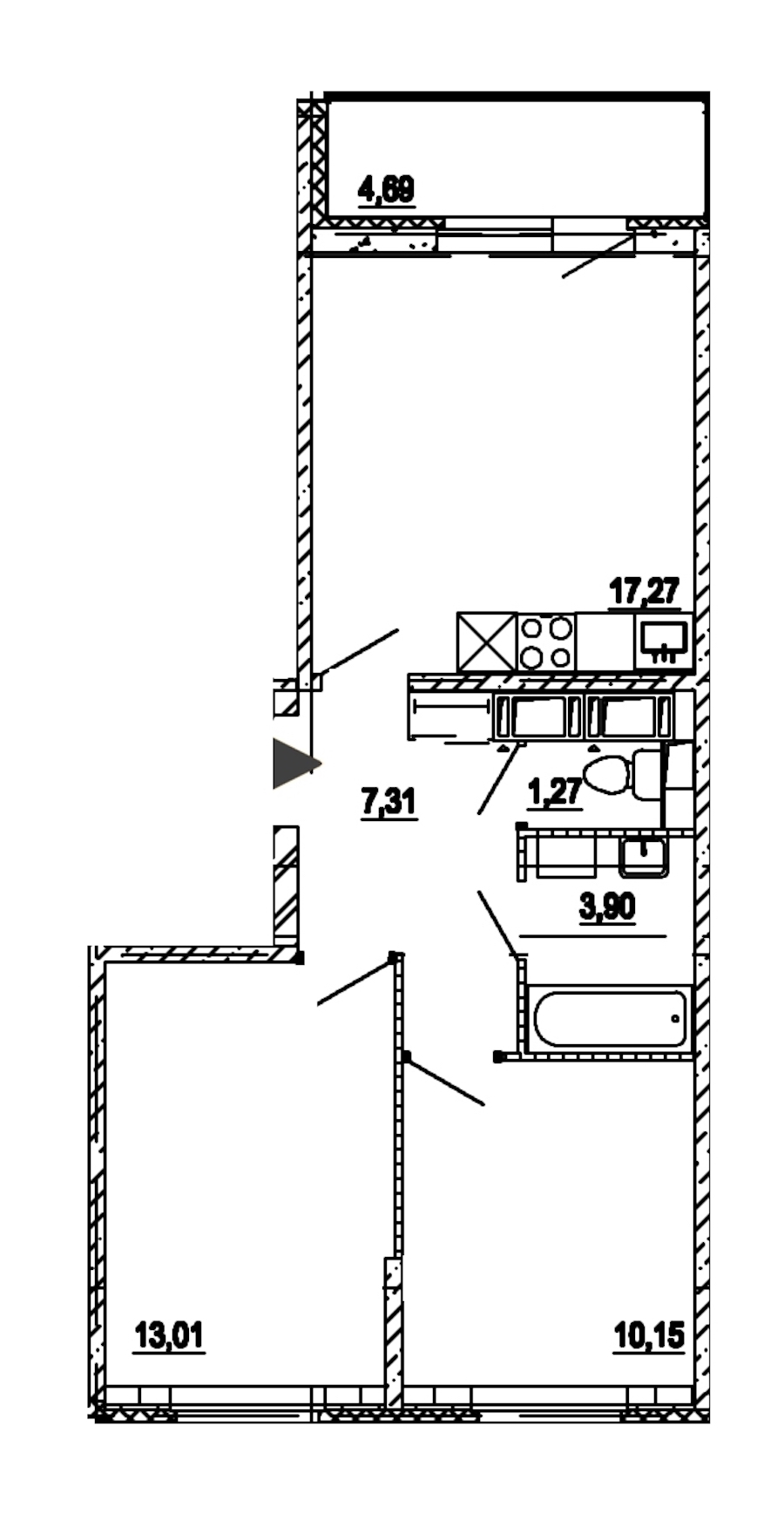 2-комнатная 52 м<sup>2</sup> на 14 этаже