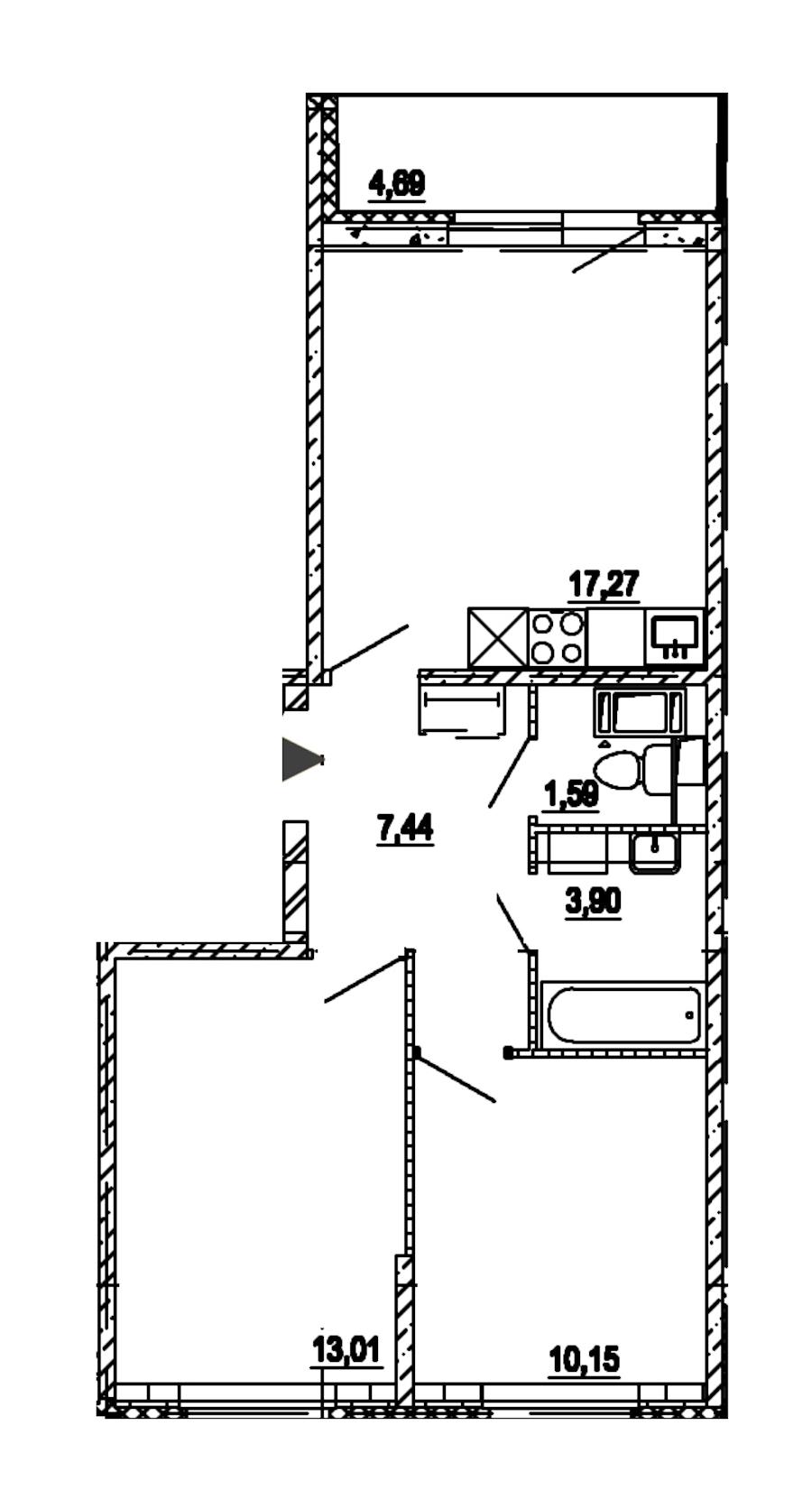 2-комнатная 53 м<sup>2</sup> на 9 этаже