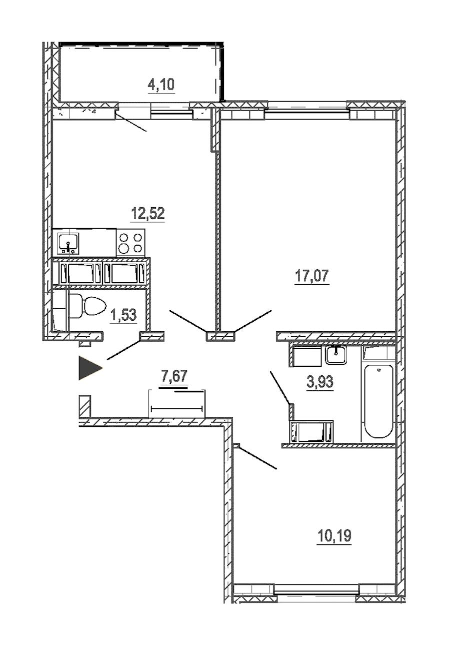 2-комнатная 52 м<sup>2</sup> на 18 этаже