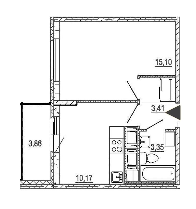 1-комнатная 32 м<sup>2</sup> на 17 этаже