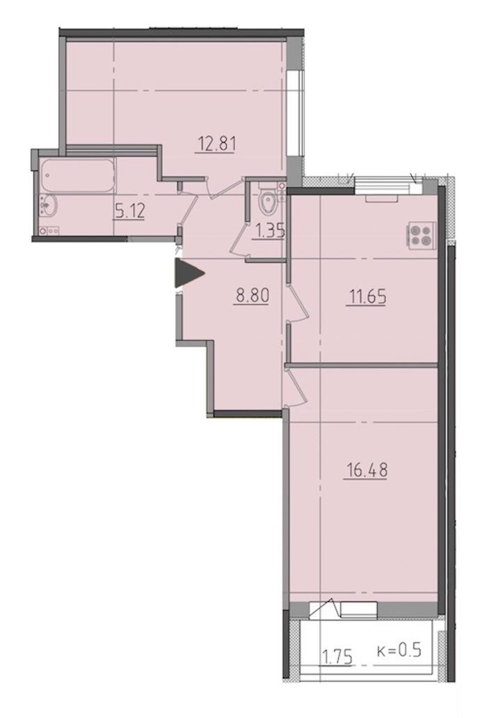 2-комнатная 57 м<sup>2</sup> на 1 этаже