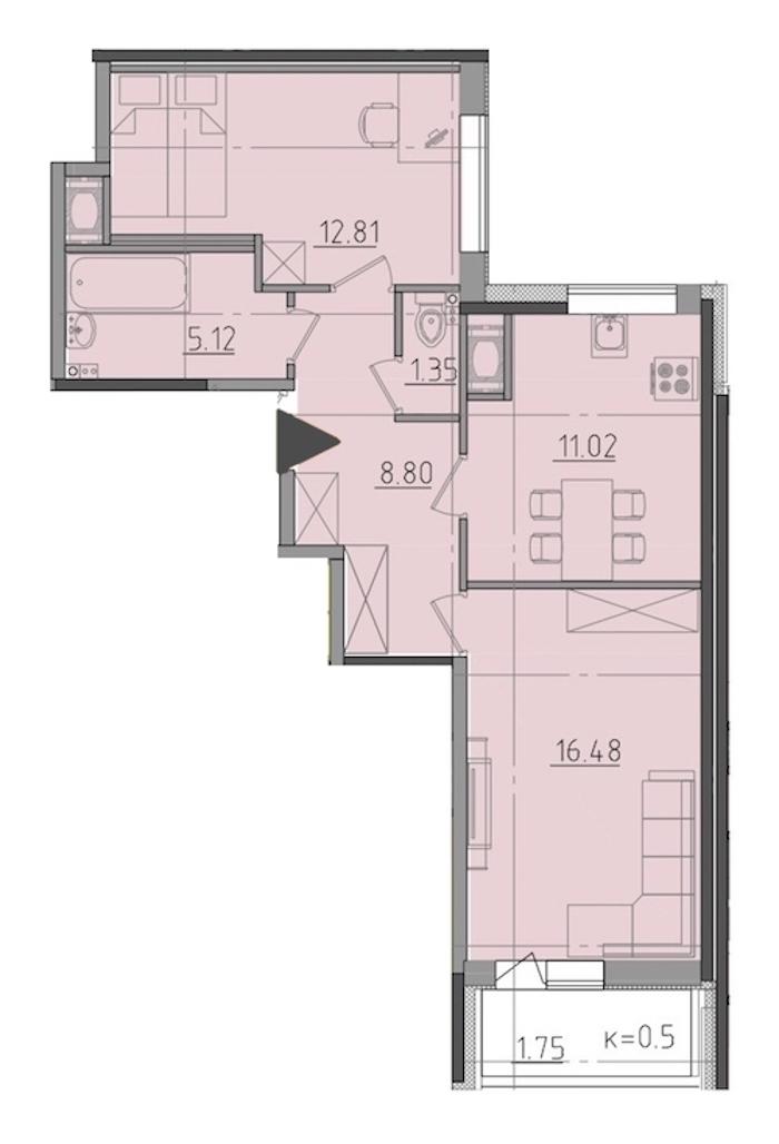 2-комнатная 57 м<sup>2</sup> на 11 этаже