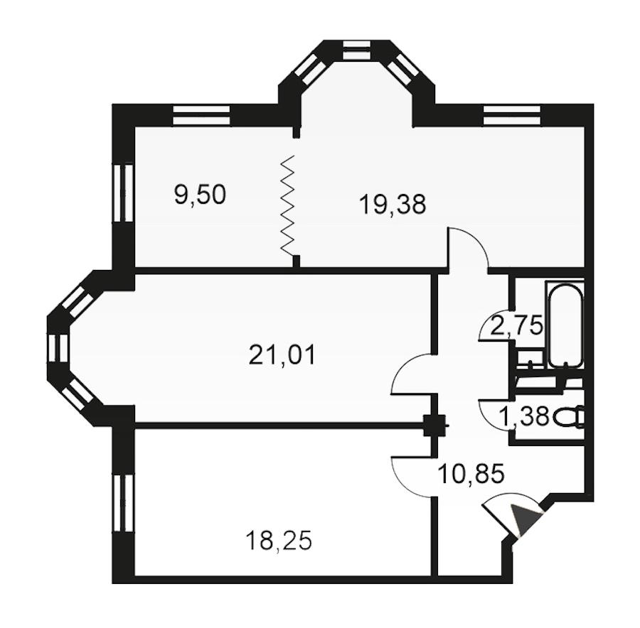 3-комнатная 83 м<sup>2</sup> на 4 этаже