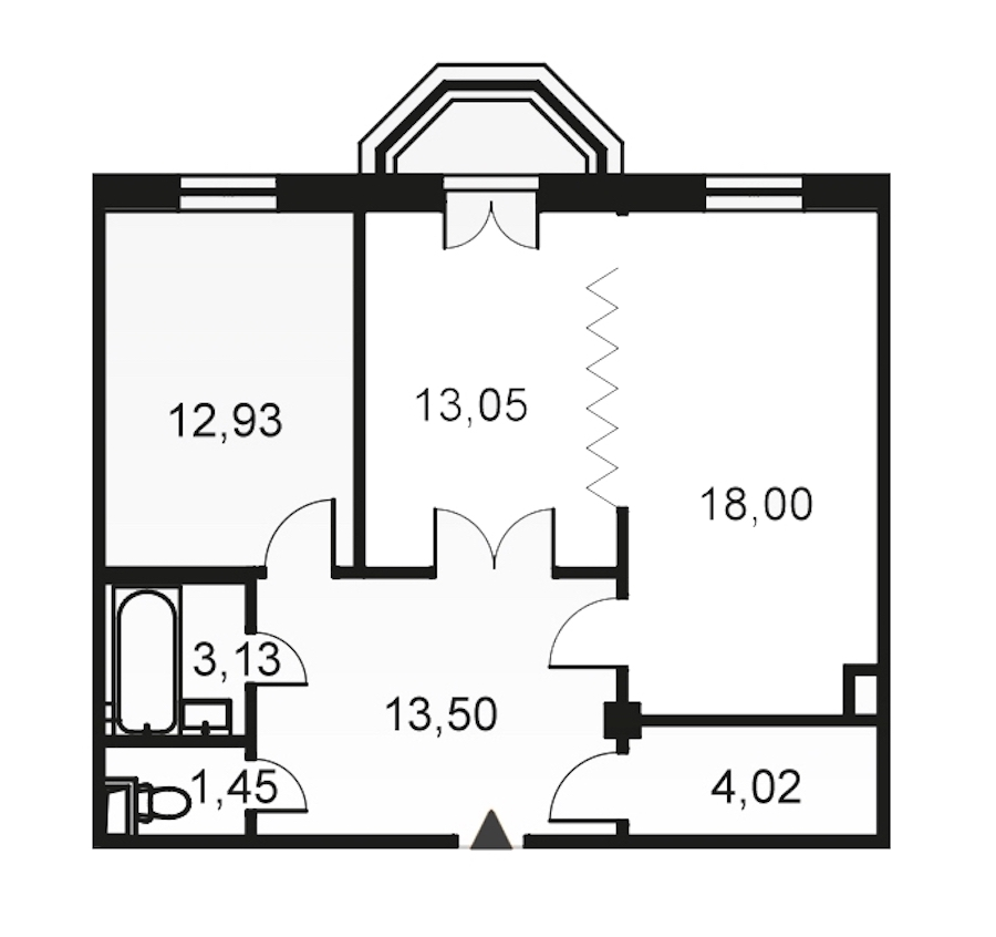 2-комнатная 66 м<sup>2</sup> на 5 этаже