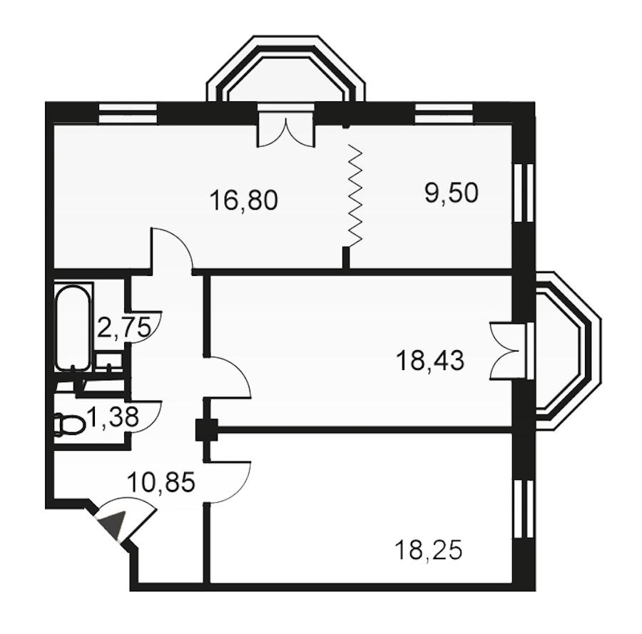 3-комнатная 78 м<sup>2</sup> на 5 этаже