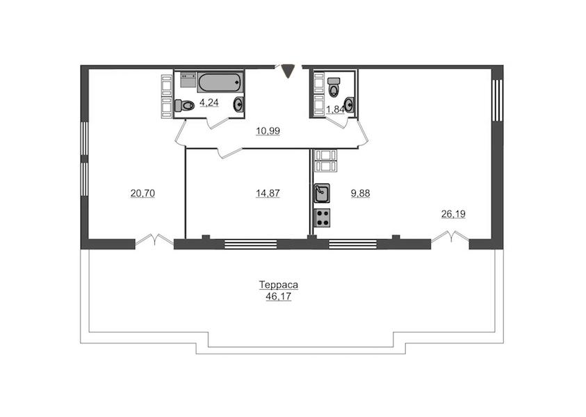 2-комнатная 102 м<sup>2</sup> на 15 этаже