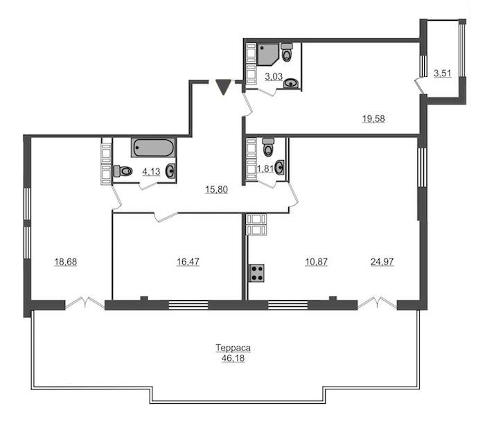 3-комнатная 130 м<sup>2</sup> на 15 этаже