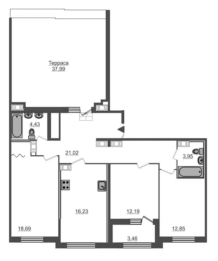 3-комнатная 101 м<sup>2</sup> на 13 этаже