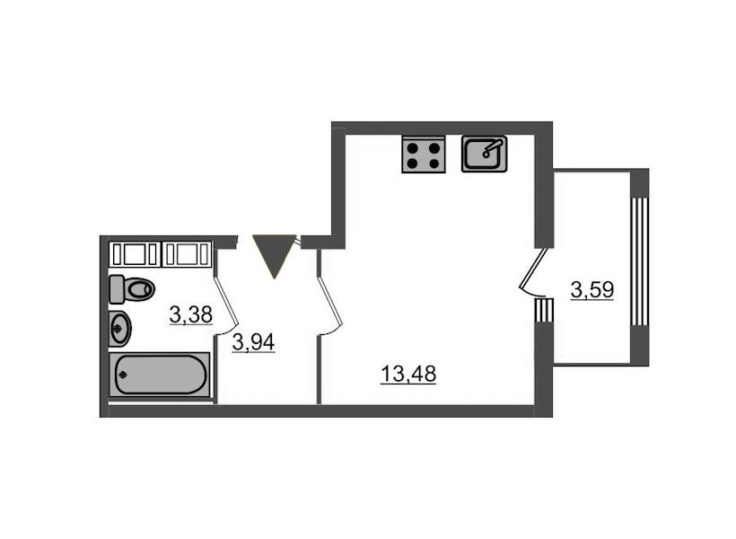 Студия 22 м<sup>2</sup> на 15 этаже