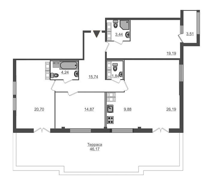 3-комнатная 131 м<sup>2</sup> на 15 этаже