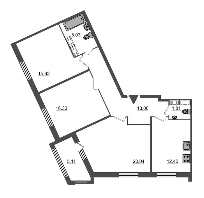3-комнатная 87 м<sup>2</sup> на 16 этаже