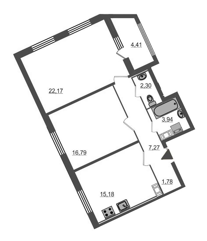 2-комнатная 71 м<sup>2</sup> на 6 этаже